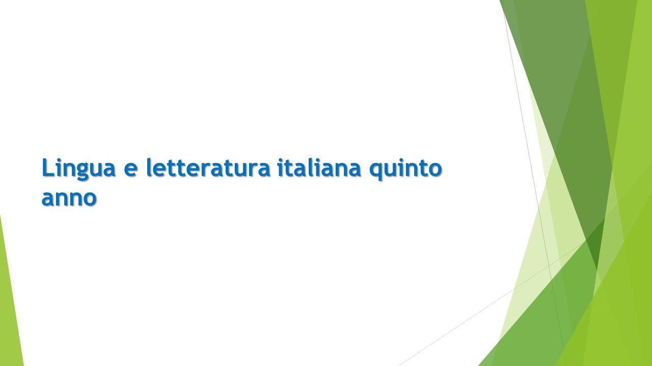 Lingua e letteratura italiana quinto anno
