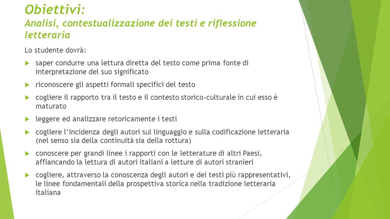 Obiettivi: Analisi, contestualizzazione dei testi e riflessione letteraria
