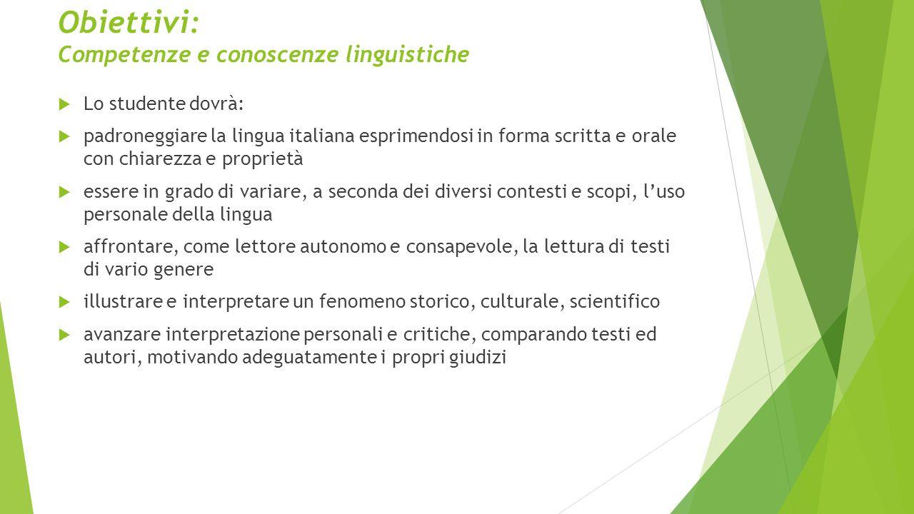 Obiettivi: Competenze e conoscenze linguistiche