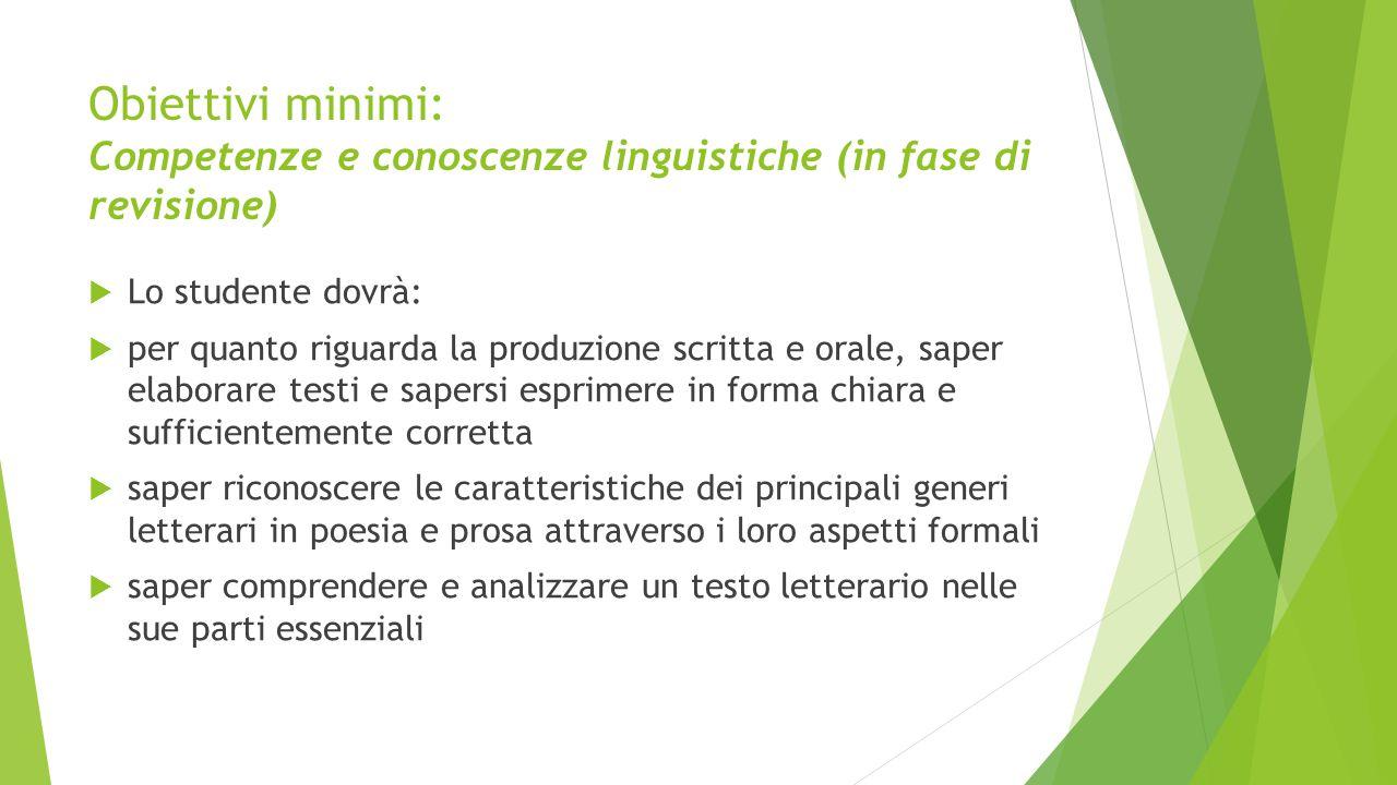 Obiettivi minimi: Competenze e conoscenze linguistiche (in fase di revisione)