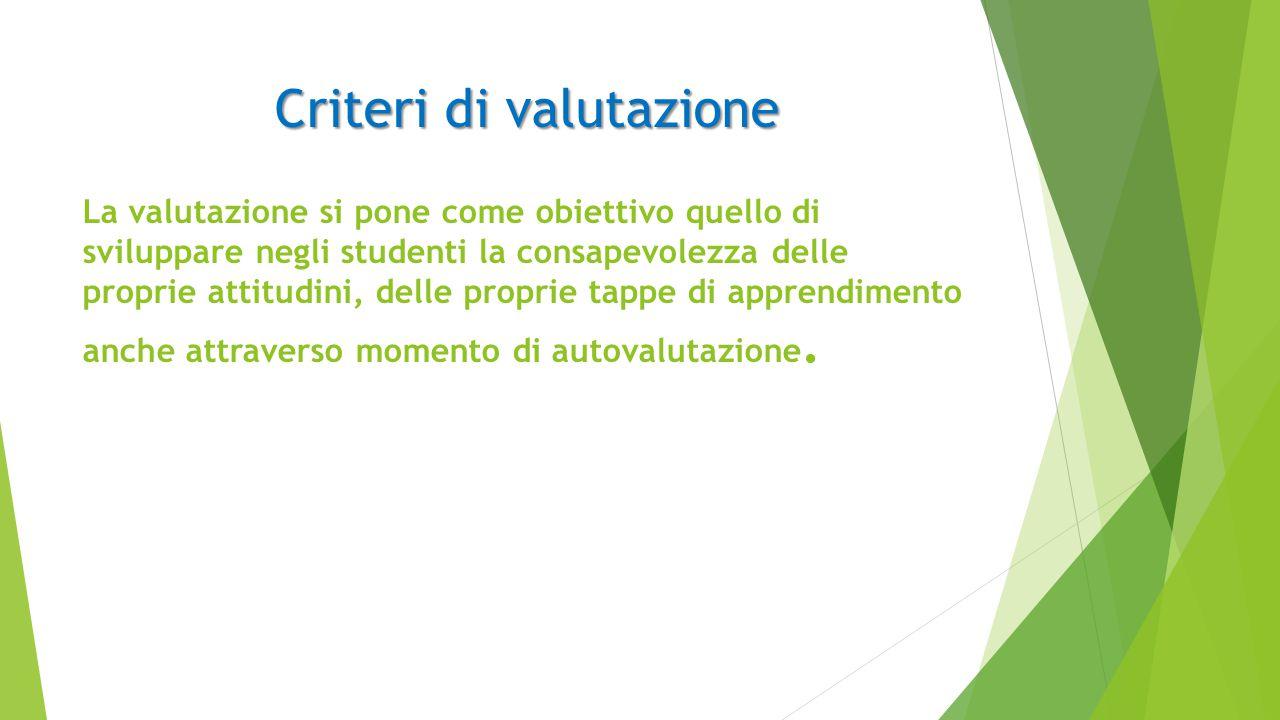 Criteri di valutazione La valutazione si pone come obiettivo quello di sviluppare negli studenti la consapevolezza delle proprie attitudini, delle proprie tappe di apprendimento anche attraverso momento di autovalutazione.