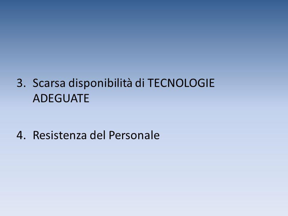 Scarsa disponibilità di TECNOLOGIE ADEGUATE
