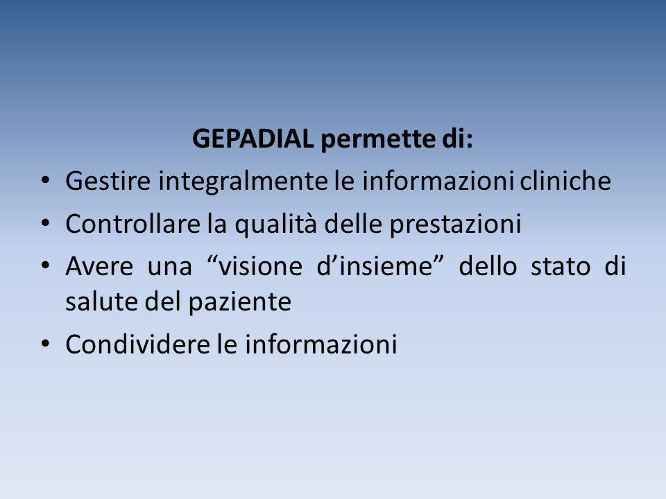GEPADIAL permette di: Gestire integralmente le informazioni cliniche. Controllare la qualità delle prestazioni.