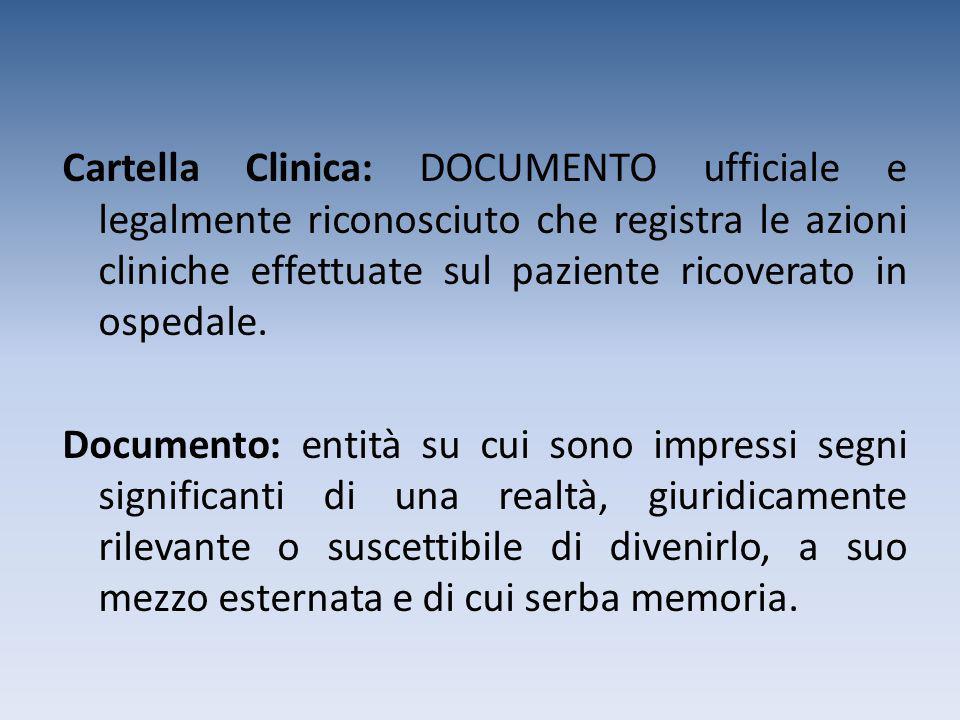 Cartella Clinica: DOCUMENTO ufficiale e legalmente riconosciuto che registra le azioni cliniche effettuate sul paziente ricoverato in ospedale.