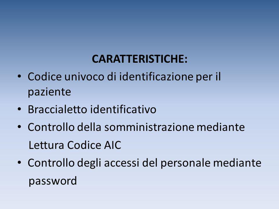 CARATTERISTICHE: Codice univoco di identificazione per il paziente. Braccialetto identificativo. Controllo della somministrazione mediante.