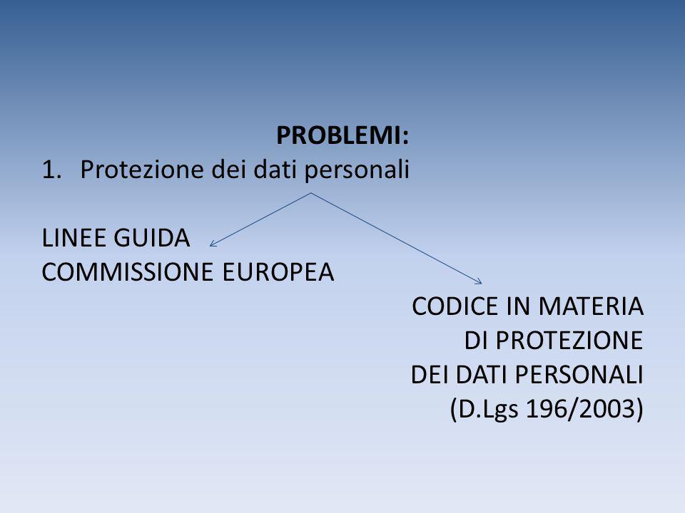 PROBLEMI: Protezione dei dati personali. LINEE GUIDA. COMMISSIONE EUROPEA. CODICE IN MATERIA. DI PROTEZIONE.