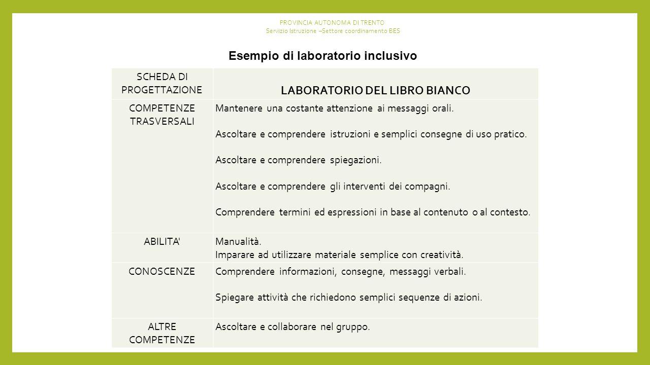 Esempio di laboratorio inclusivo LABORATORIO DEL LIBRO BIANCO