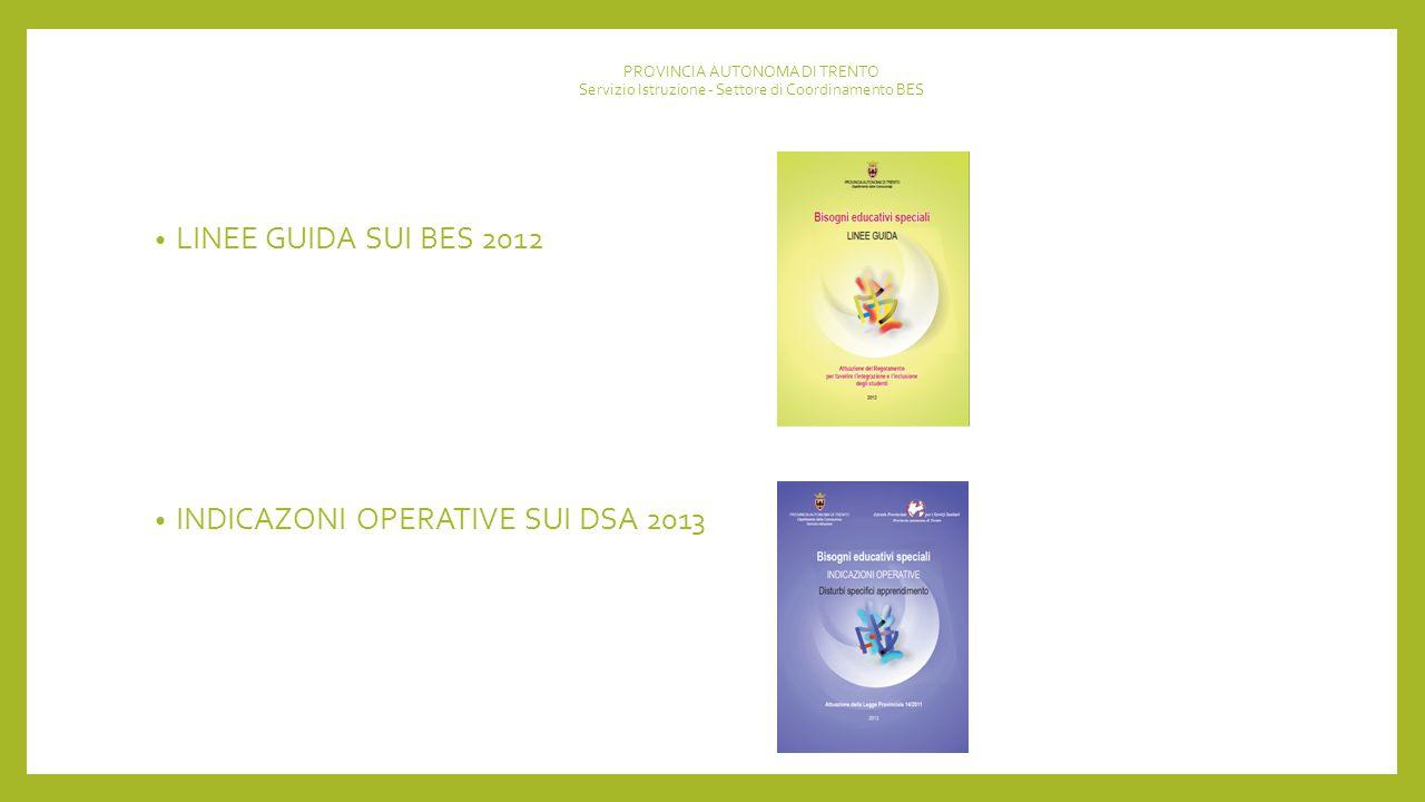 INDICAZONI OPERATIVE SUI DSA 2013