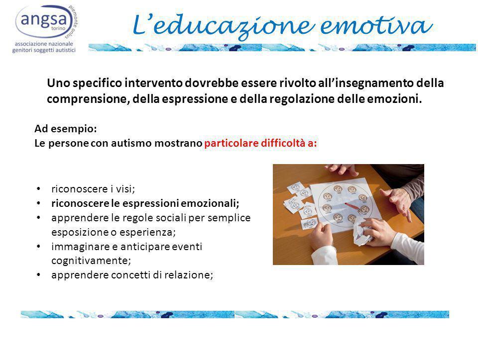 L'educazione emotiva Uno specifico intervento dovrebbe essere rivolto all'insegnamento della.