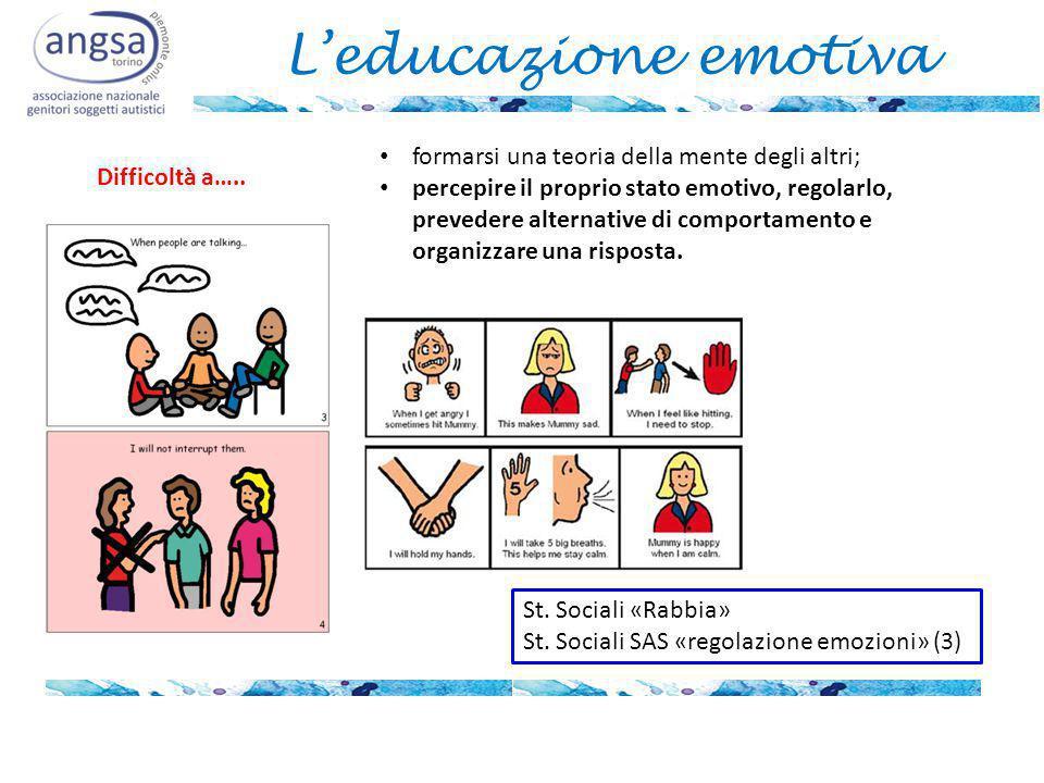 L'educazione emotiva formarsi una teoria della mente degli altri;