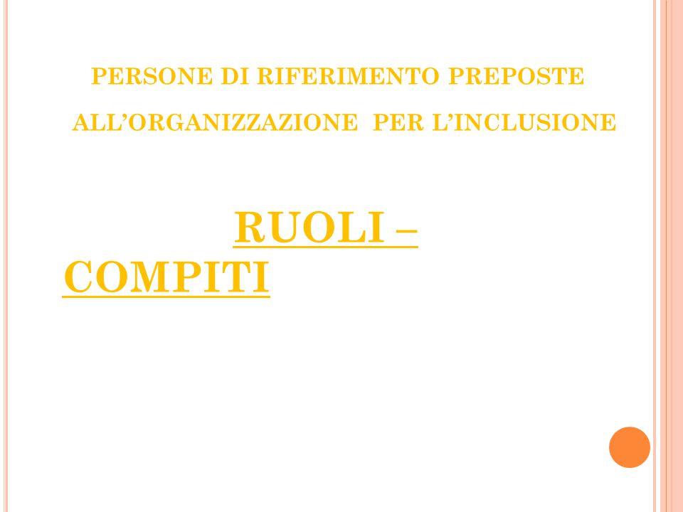 PERSONE DI RIFERIMENTO PREPOSTE ALL'ORGANIZZAZIONE PER L'INCLUSIONE