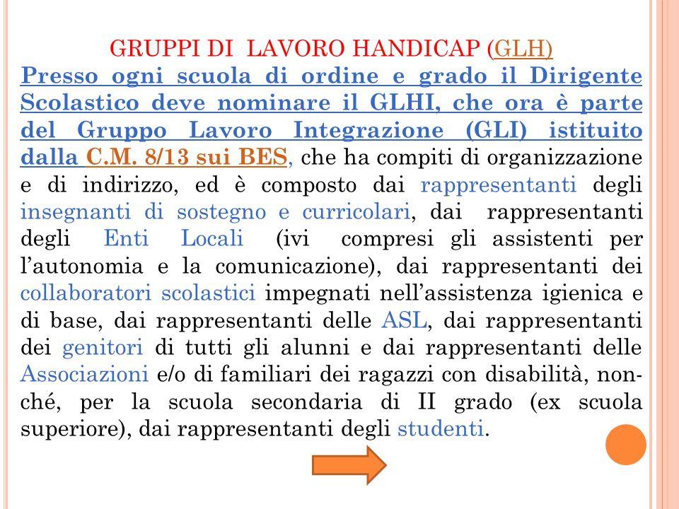 GRUPPI DI LAVORO HANDICAP (GLH)
