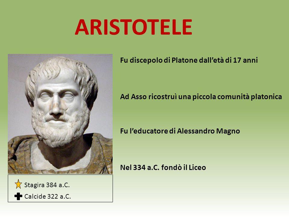 ARISTOTELE Fu discepolo di Platone dall'età di 17 anni