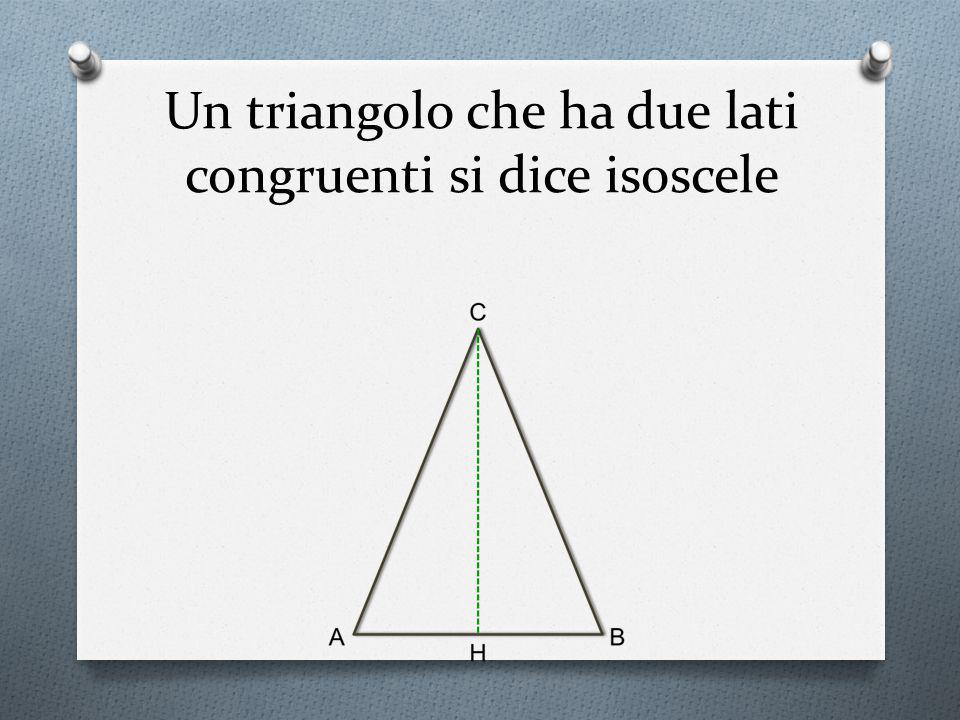 Un triangolo che ha due lati congruenti si dice isoscele