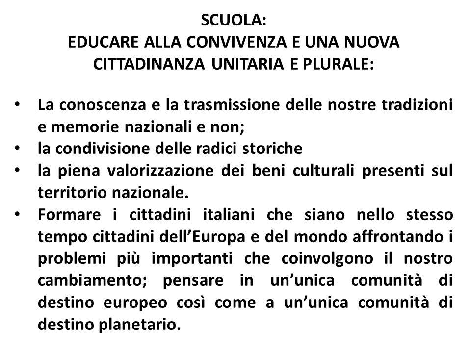 Educare alla convivenza e una nuova cittadinanza unitaria e plurale: