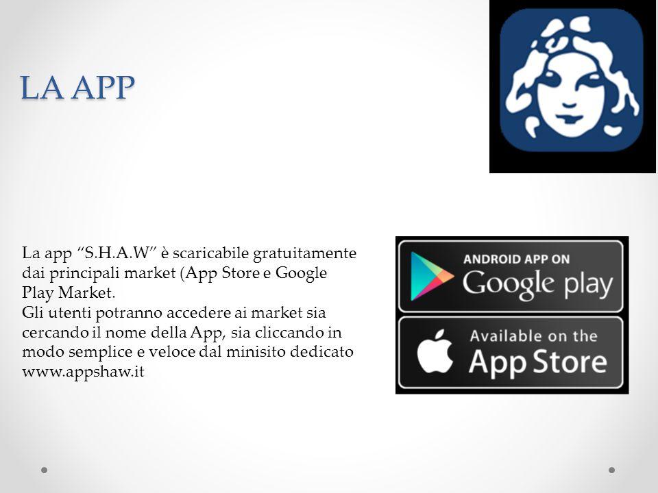 LA APP La app S.H.A.W è scaricabile gratuitamente