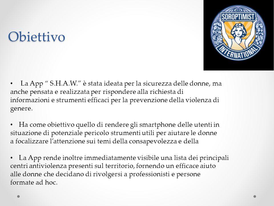 Obiettivo La App S.H.A.W. è stata ideata per la sicurezza delle donne, ma. anche pensata e realizzata per rispondere alla richiesta di.