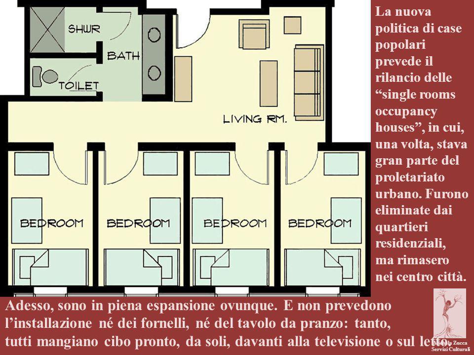 La nuova politica di case popolari prevede il rilancio delle single rooms occupancy houses , in cui, una volta, stava gran parte del proletariato urbano. Furono eliminate dai quartieri residenziali, ma rimasero nei centro città.