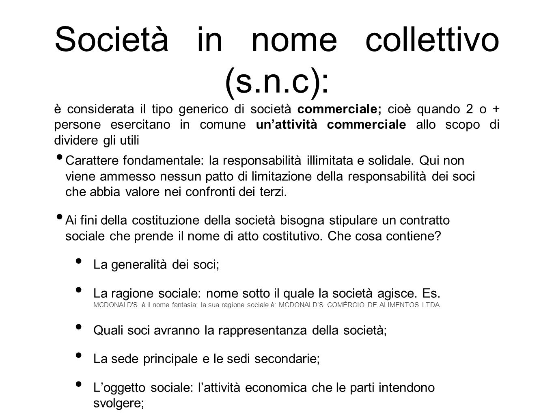 Società in nome collettivo (s. n