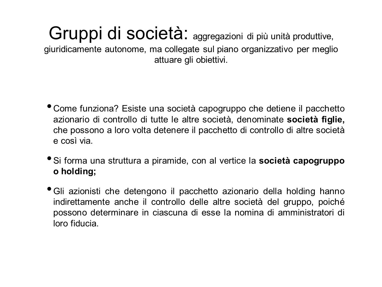 Gruppi di società: aggregazioni di più unità produttive, giuridicamente autonome, ma collegate sul piano organizzativo per meglio attuare gli obiettivi.