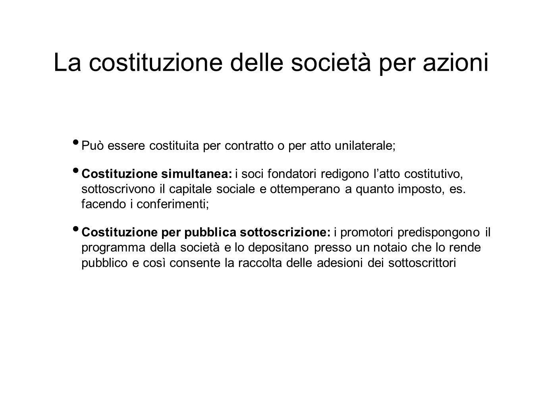 La costituzione delle società per azioni