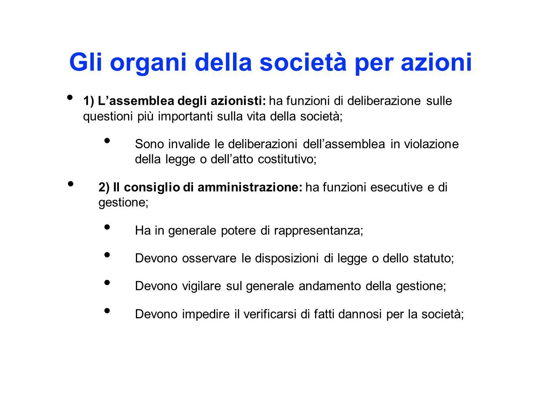 Gli organi della società per azioni