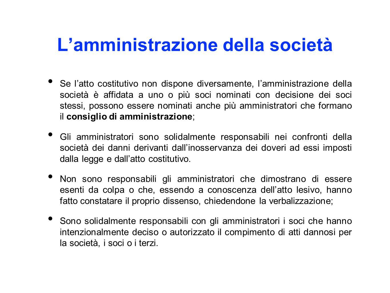 L'amministrazione della società