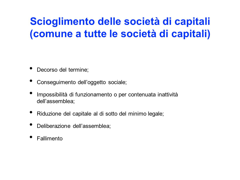Scioglimento delle società di capitali (comune a tutte le società di capitali)
