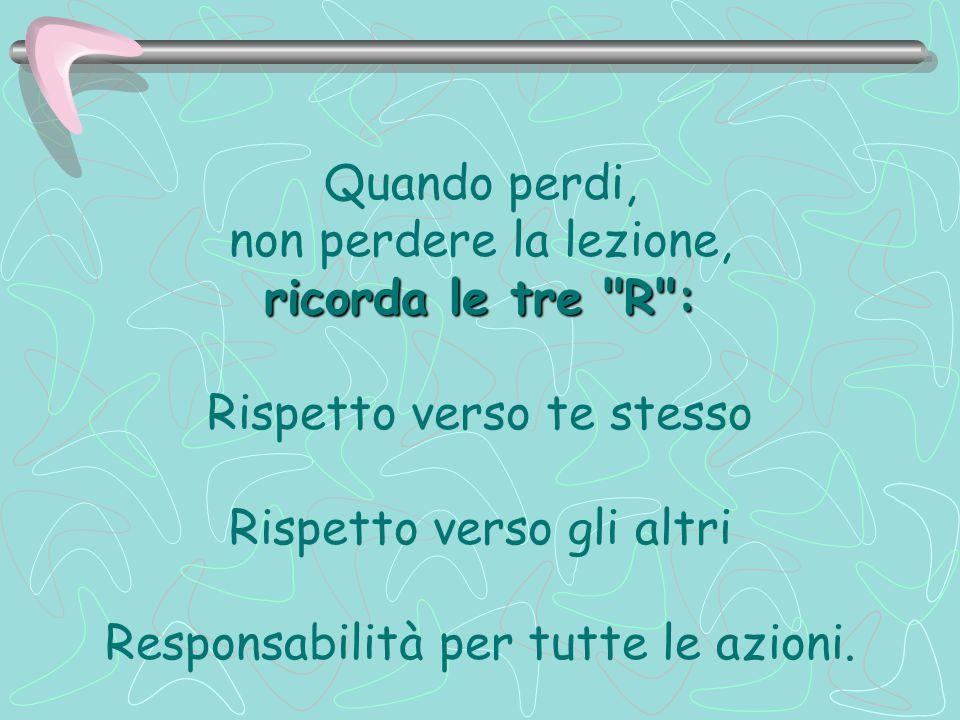 Quando perdi, non perdere la lezione, ricorda le tre R : Rispetto verso te stesso Rispetto verso gli altri Responsabilità per tutte le azioni.