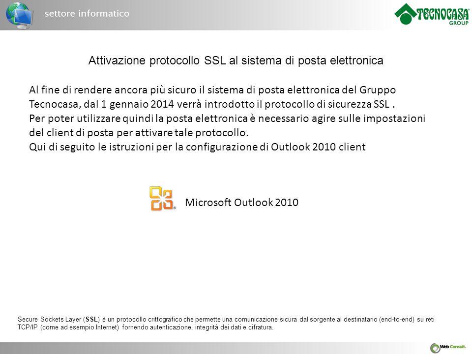 Attivazione protocollo SSL al sistema di posta elettronica
