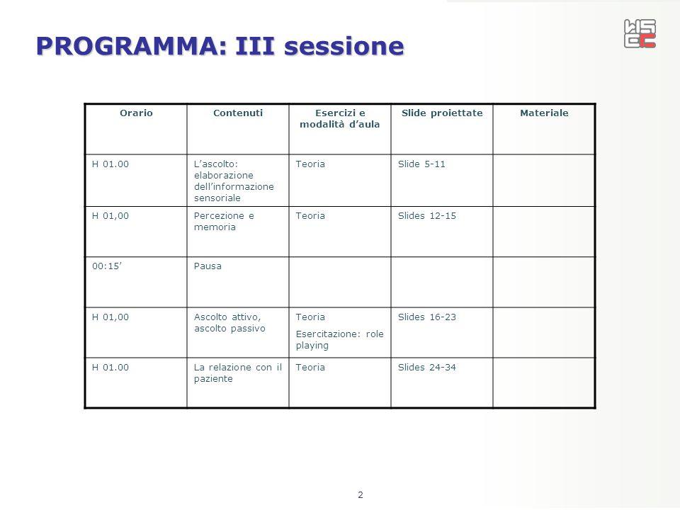 PROGRAMMA: III sessione