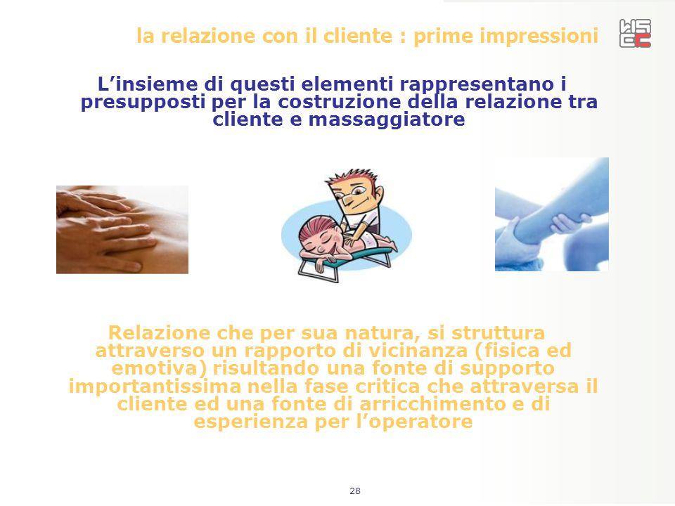 la relazione con il cliente : prime impressioni