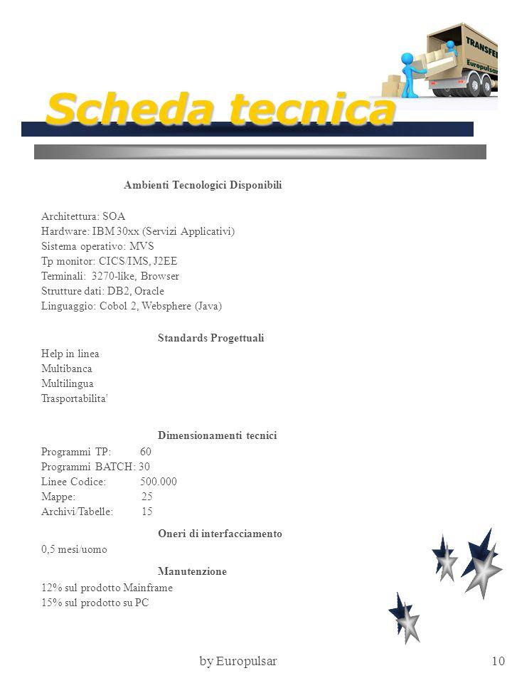 Scheda tecnica by Europulsar Ambienti Tecnologici Disponibili