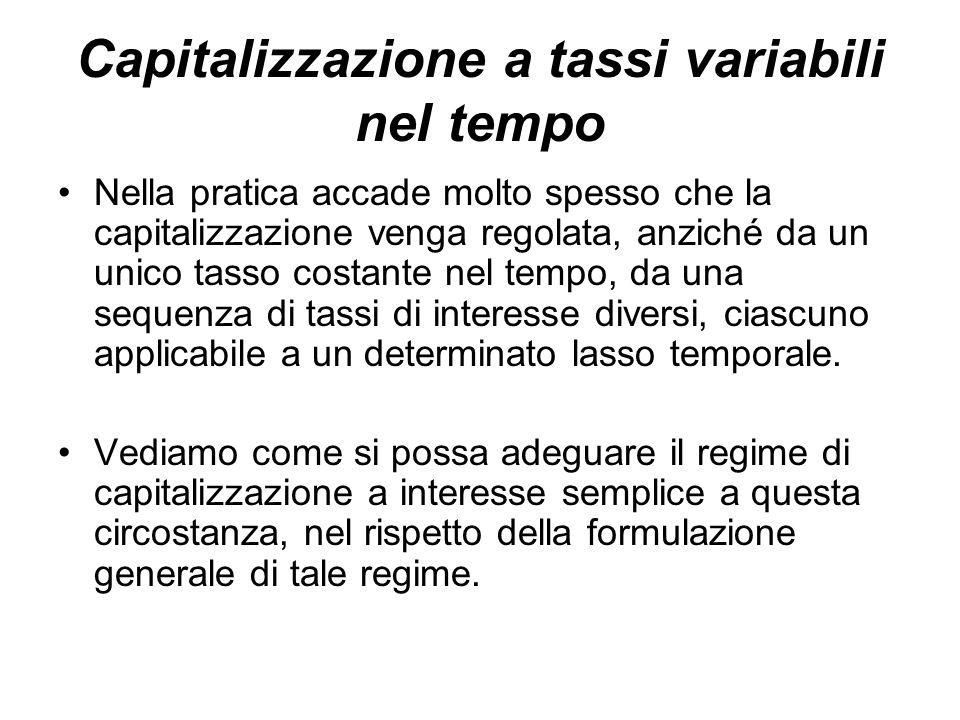 Capitalizzazione a tassi variabili nel tempo