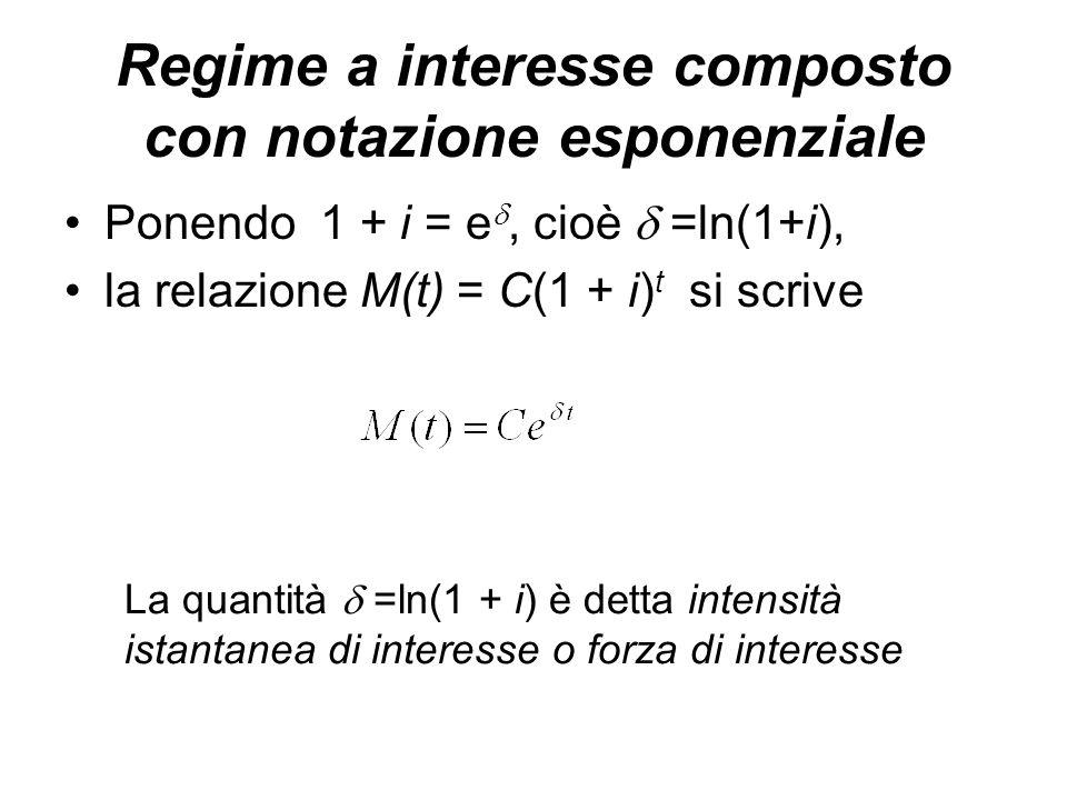 Regime a interesse composto con notazione esponenziale