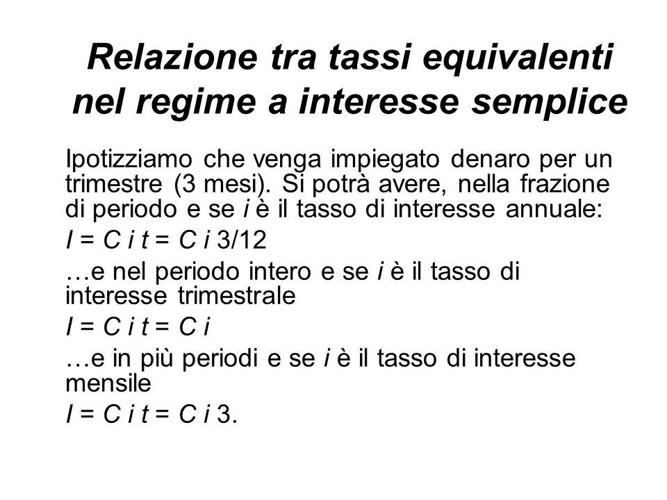 Relazione tra tassi equivalenti nel regime a interesse semplice
