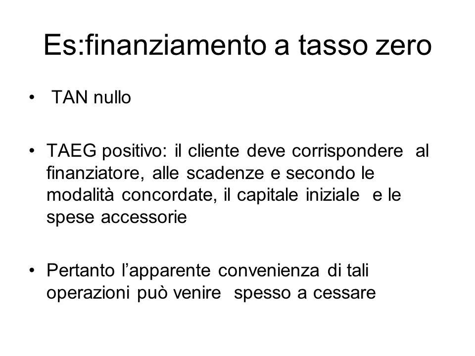 Es:finanziamento a tasso zero