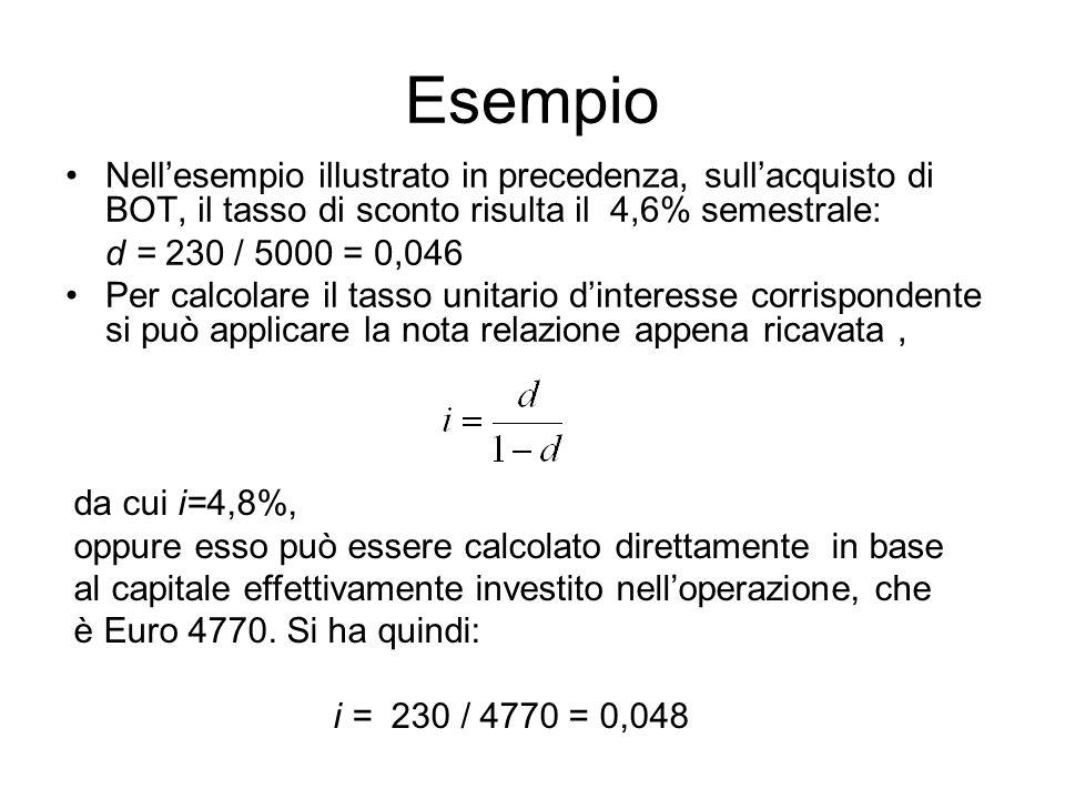Esempio Nell'esempio illustrato in precedenza, sull'acquisto di BOT, il tasso di sconto risulta il 4,6% semestrale: