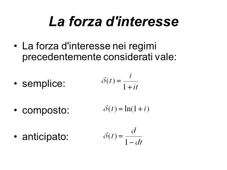 La forza d interesse La forza d interesse nei regimi precedentemente considerati vale: semplice: composto: