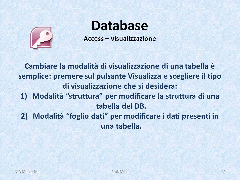 Database Access – visualizzazione