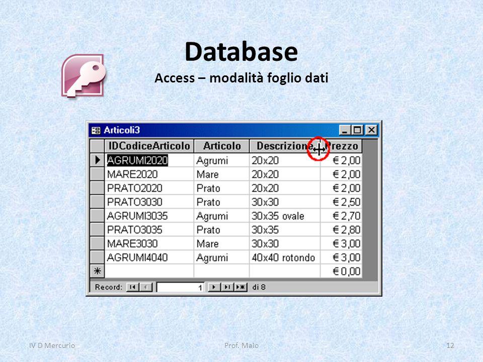 Database Access – modalità foglio dati