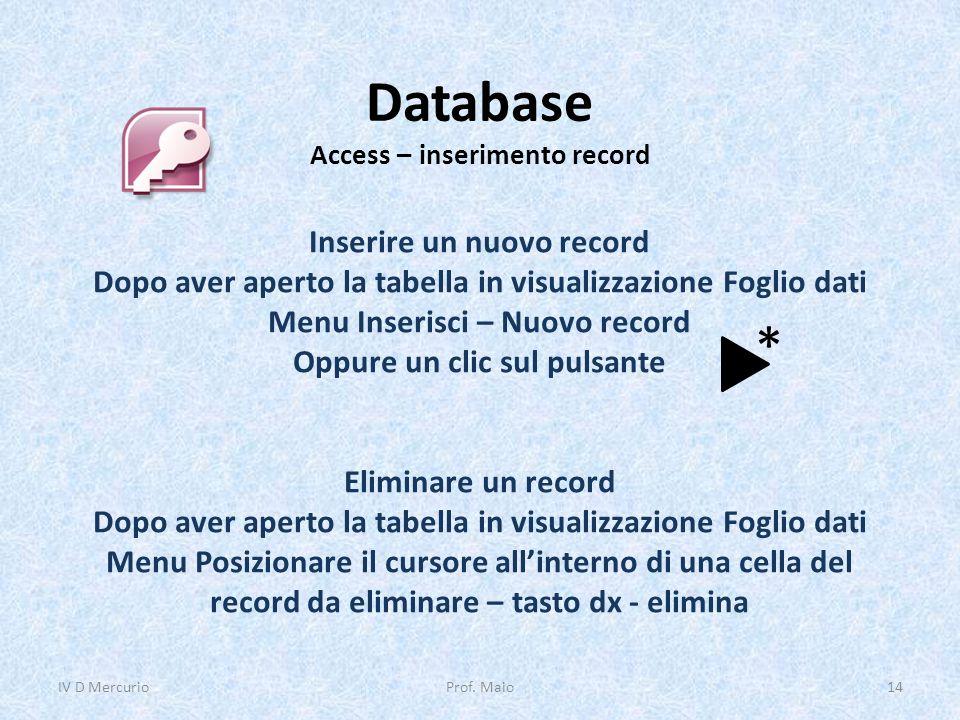 Database Access – inserimento record