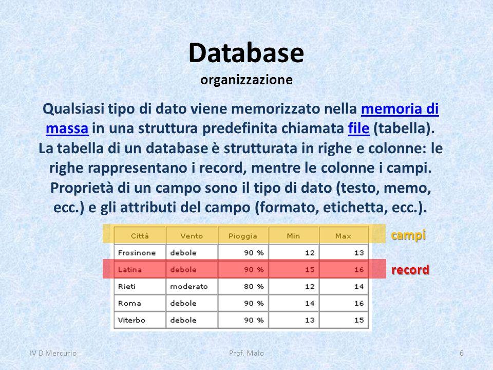 Database organizzazione