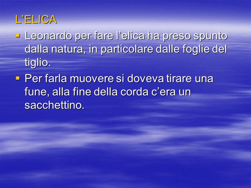L'ELICA Leonardo per fare l'elica ha preso spunto dalla natura, in particolare dalle foglie del tiglio.