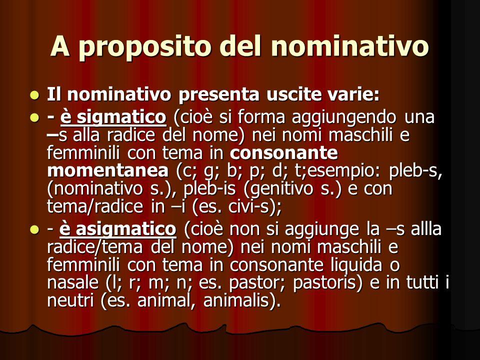A proposito del nominativo
