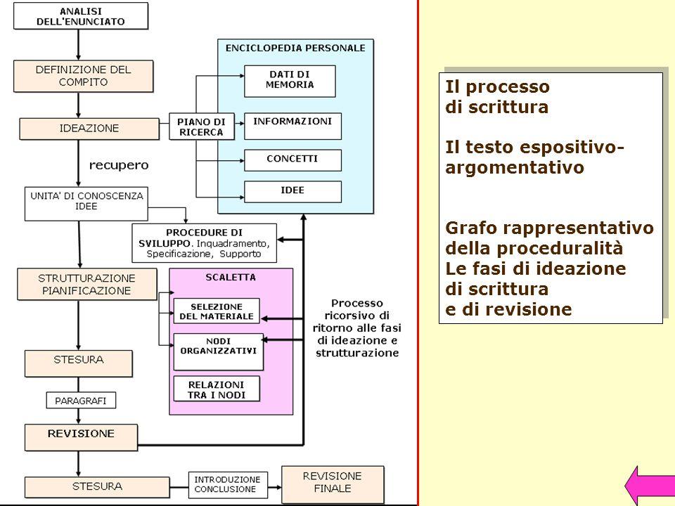 Il processo di scrittura. Il testo espositivo- argomentativo. Grafo rappresentativo. della proceduralità.