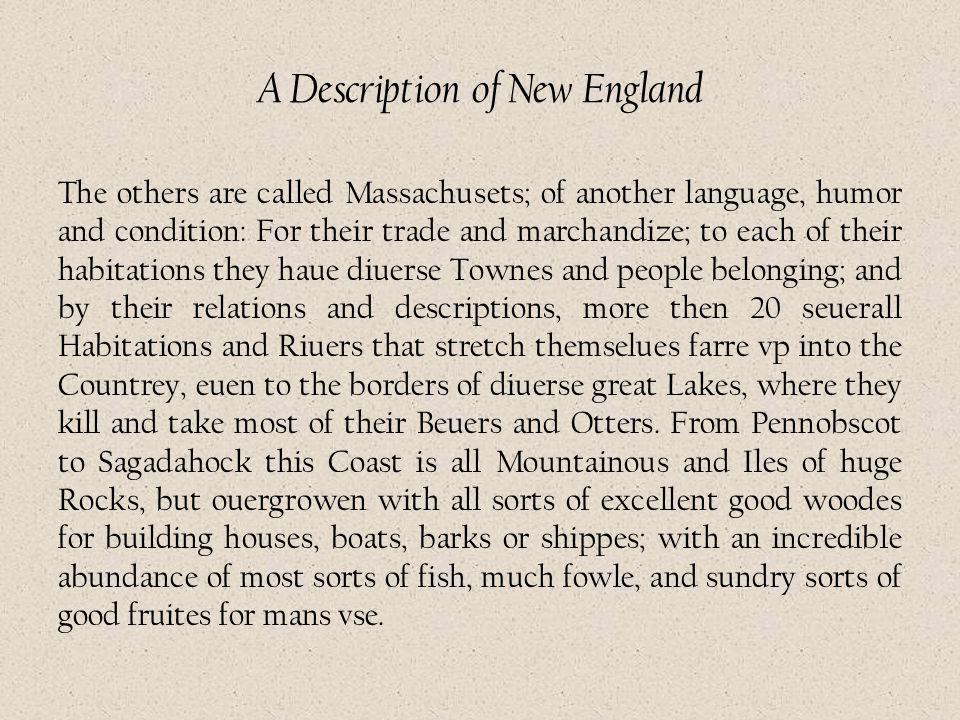 A Description of New England