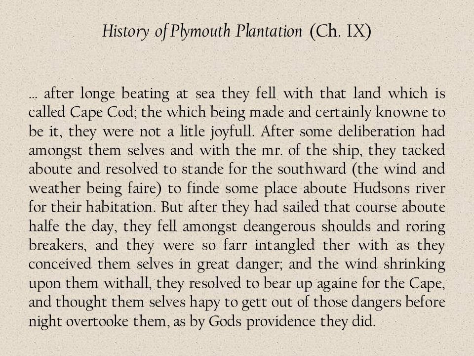 History of Plymouth Plantation (Ch. IX)
