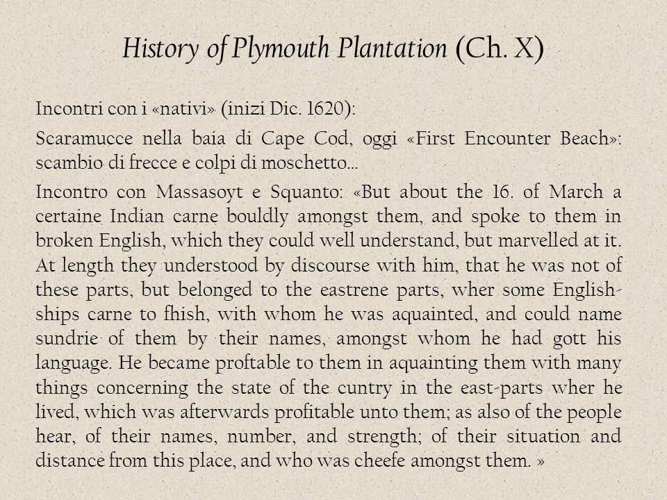 History of Plymouth Plantation (Ch. X)