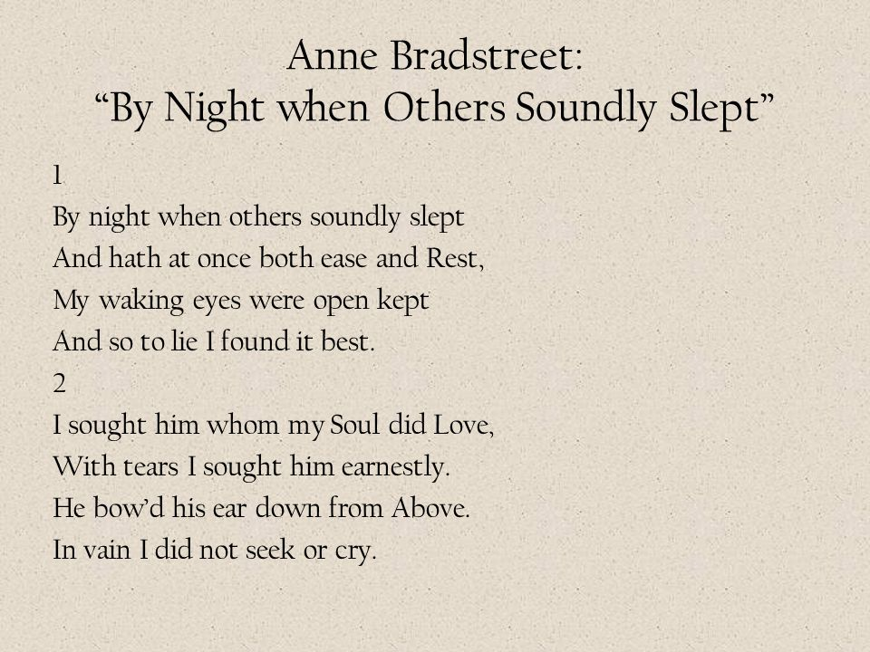 Anne Bradstreet: By Night when Others Soundly Slept